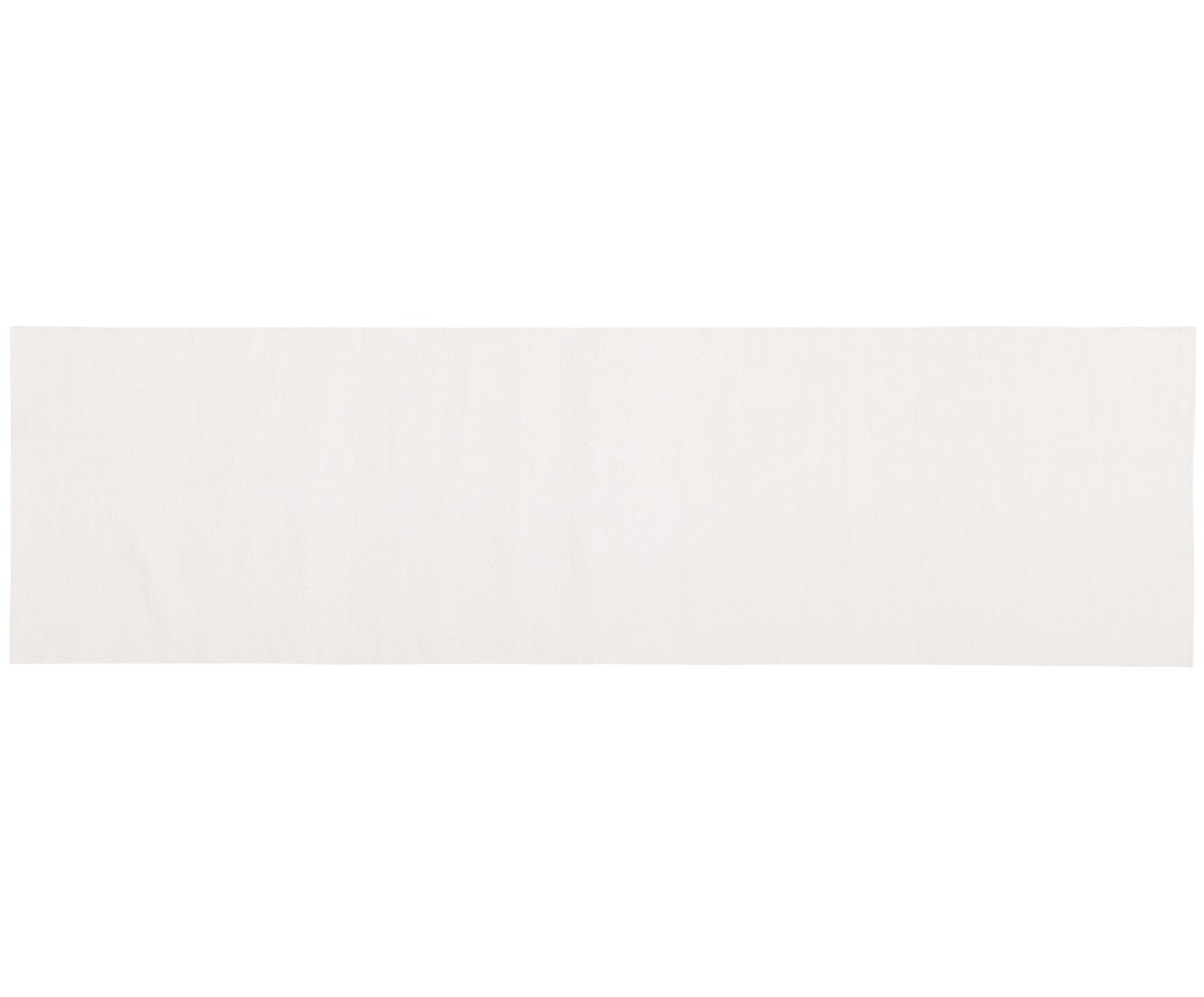 Alfombra artesanal de algodón Agneta, Algodón, Blanco crema, An 70 x L 250 cm