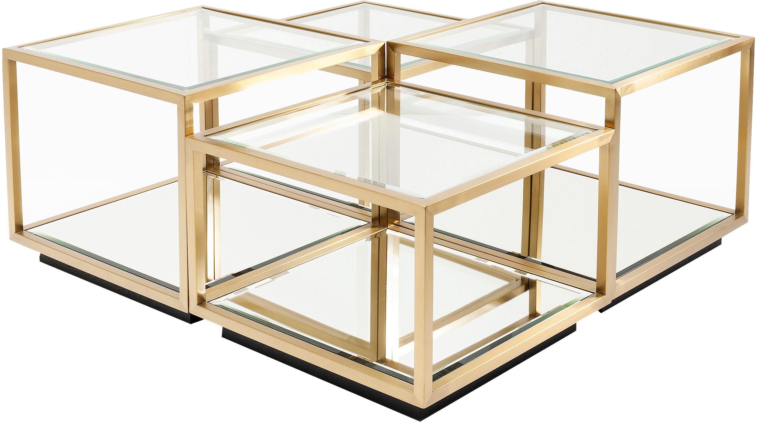 Set 4 tavolini da salotto con piano in vetro Luigi, Struttura: acciaio inossidabile vern, Ripiani: vetro temperato, Piedini: pannello di fibra a media, Dorato, nero, Set in varie misure
