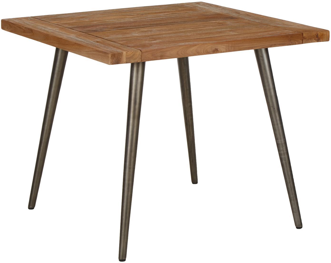 Eettafel Kapal met massief houten tafelblad, Tafelblad: 4 cm sterk, gerecycled ma, Poten: staal met metalen gebruik, Teakhoutkleurig, zwart, B 90 x D 90 cm