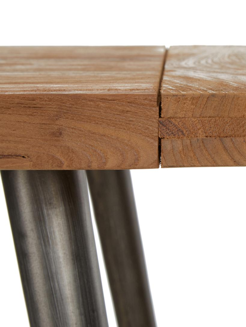Esstisch Kapal mit Massivholzplatte, Tischplatte: 4 cm starkes, recyceltes , Beine: Stahl mit metallischen Ge, Teakholz, B 90 x T 90 cm