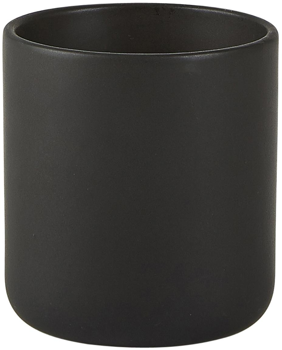 Duftkerze Sweet Wood, Behälter: Keramik, Schwarz, Ø 8 x H 10 cm