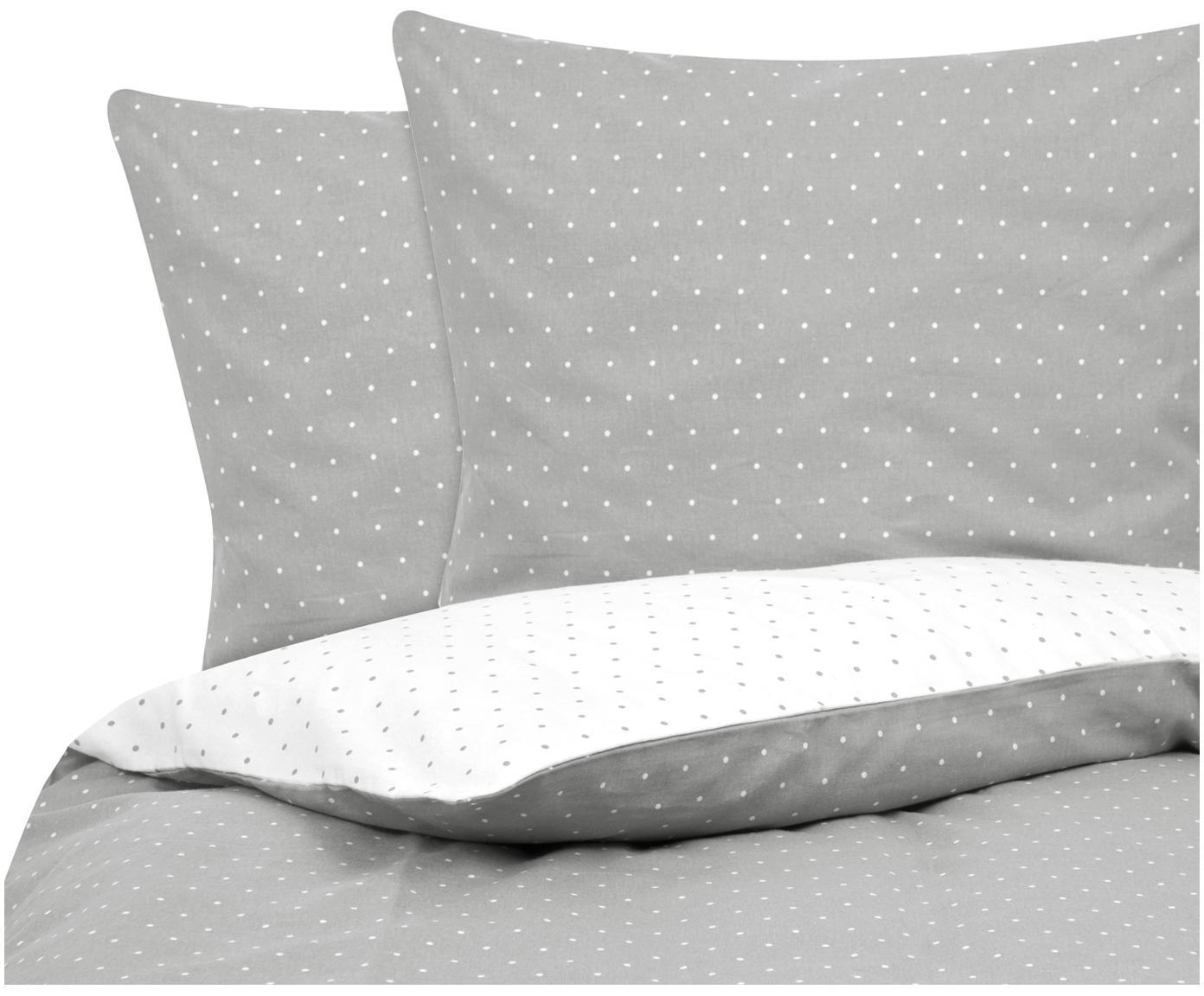 Flanell-Wendebettwäsche Betty, gepunktet, Webart: Flanell Flanell ist ein s, Grau, Weiß, 240 x 220 cm + 2 Kissen 80 x 80 cm