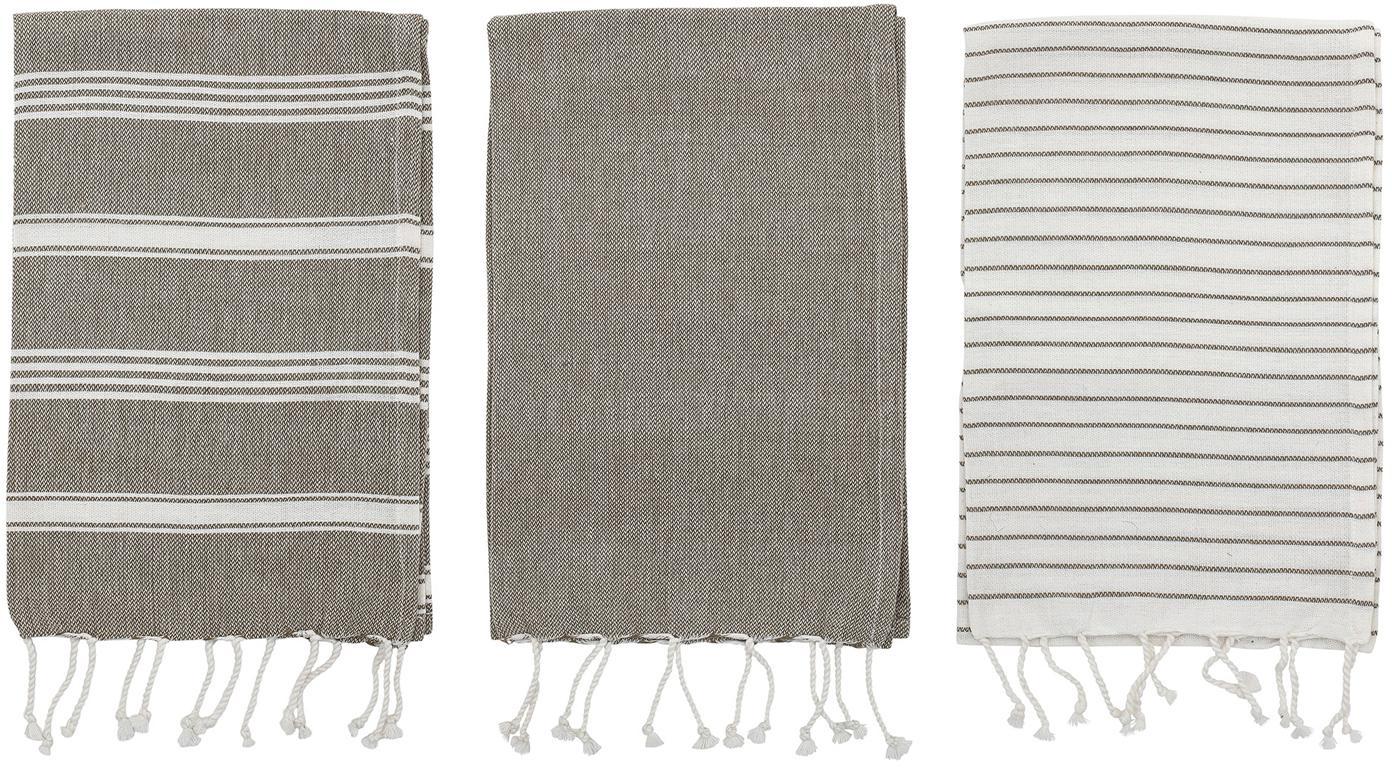 Komplet ręczników kuchennych Nature, 3 elem., Bawełna, Szary, biały, S 45 x D 70 cm