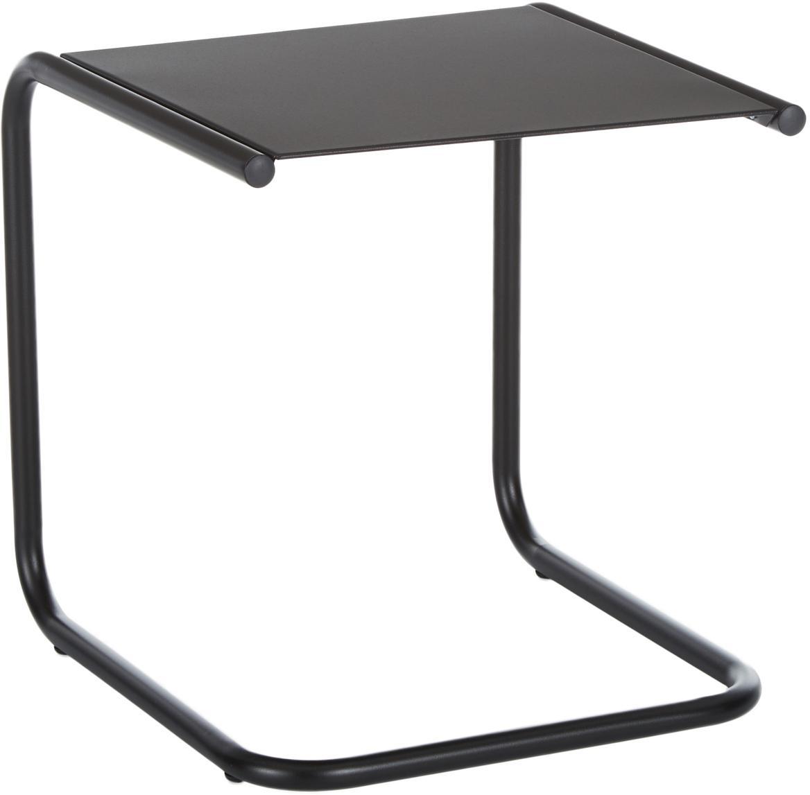 Stolik pomocniczy ogrodowy z metalu Club, Blat: metal malowany proszkowo, Stelaż: aluminium, malowane prosz, Czarny, S 40 x G 40 cm