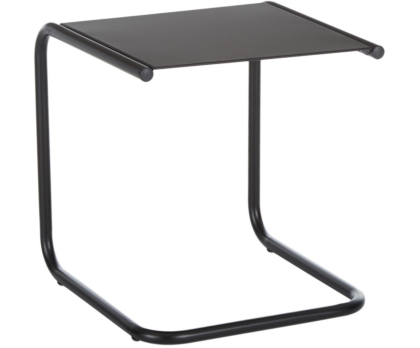 Mesa auxiliar de exterior de metal Club, Tablero: metal con pintura en polv, Estructura: aluminio con pintura en p, Negro, An 40 x F 40 cm