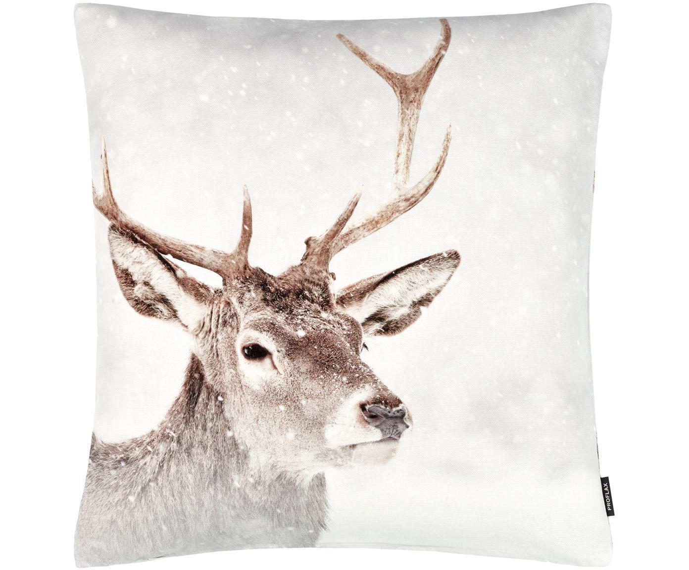 Kissenhülle Jussi mit winterlichem Motiv, Baumwolle, Weiß, Beigetöne, Braun, 50 x 50 cm