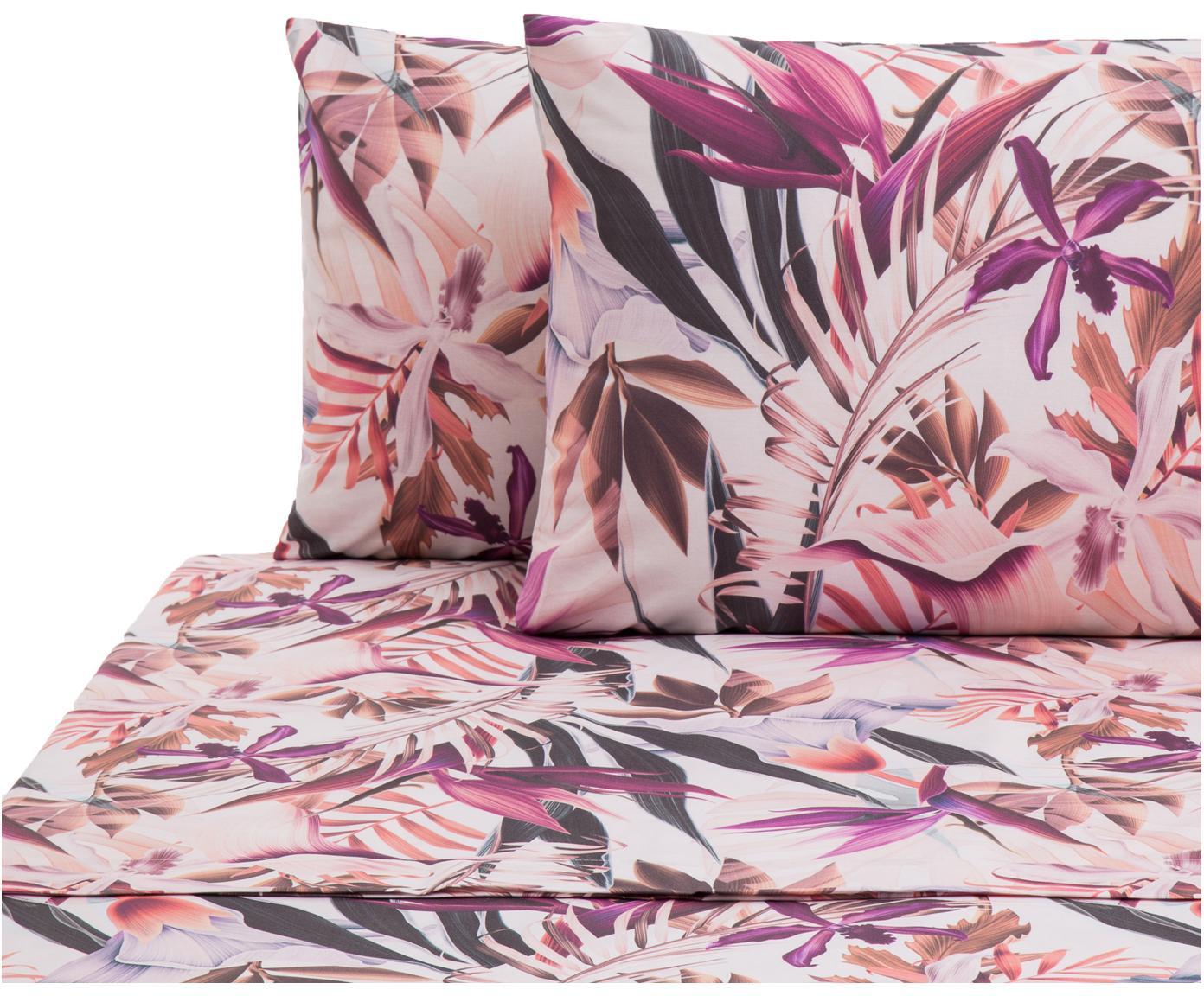 Sábana encimera Asia Pasion, Algodón, Rosa, lila, blanco, Cama 90 cm (160 x 270 cm)