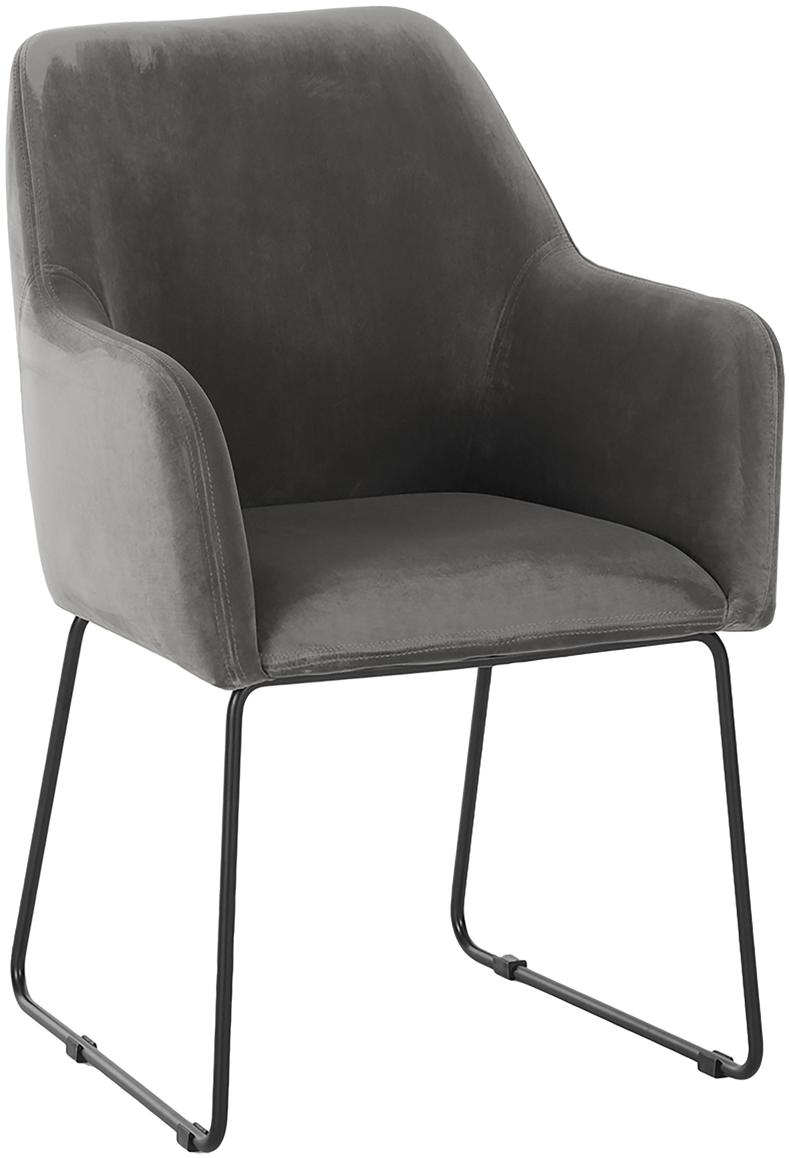 Krzesło z aksamitu z podłokietnikami Isla, Tapicerka: aksamit (poliester) Tkani, Nogi: metal malowany proszkowo, Aksamitny szary kamienny, nogi: czarny, S 58 x G 62 cm