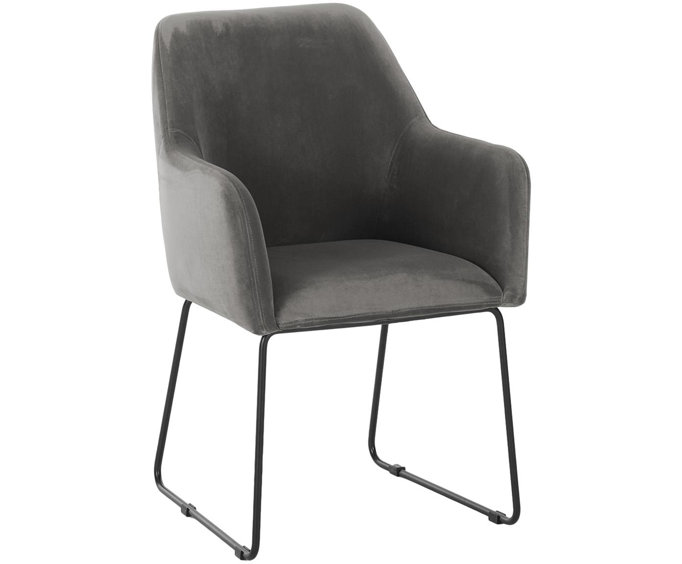 Sedia in velluto con braccioli Isla, Rivestimento: velluto (poliestere) 50.0, Gambe: metallo verniciato a polv, Velluto grigio pietra, gambe nero, Larg. 58 x Prof. 62 cm