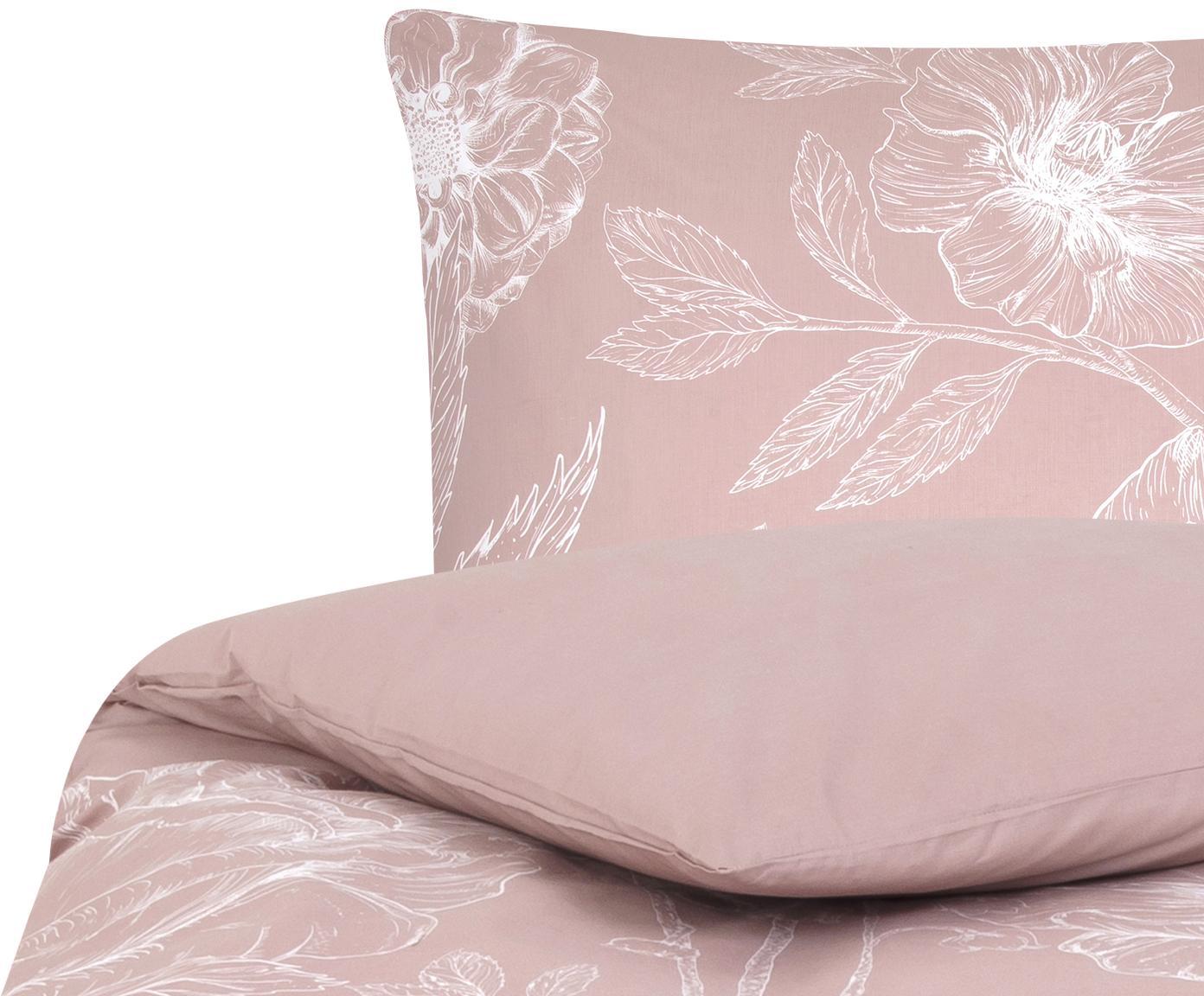 Pościel z perkalu Keno, Brudny różowy, biały, 135 x 200 cm
