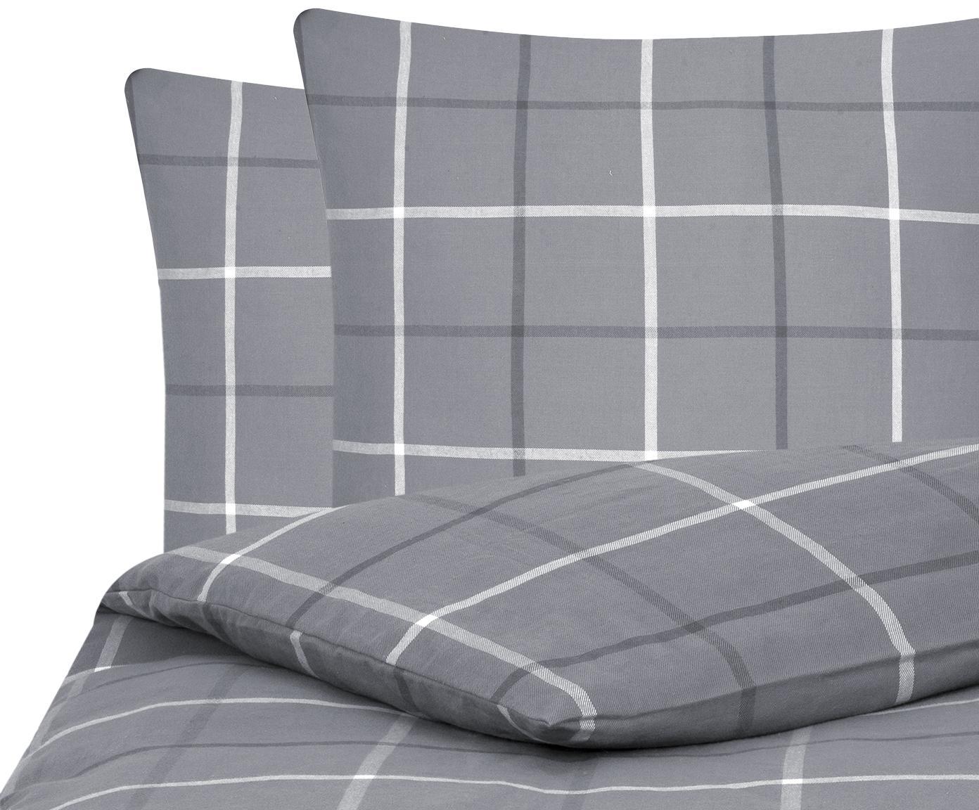 Flanell-Bettwäsche Rafa, kariert, Webart: Flanell Flanell ist ein s, Grau, 200 x 200 cm + 2 Kissen 80 x 80 cm