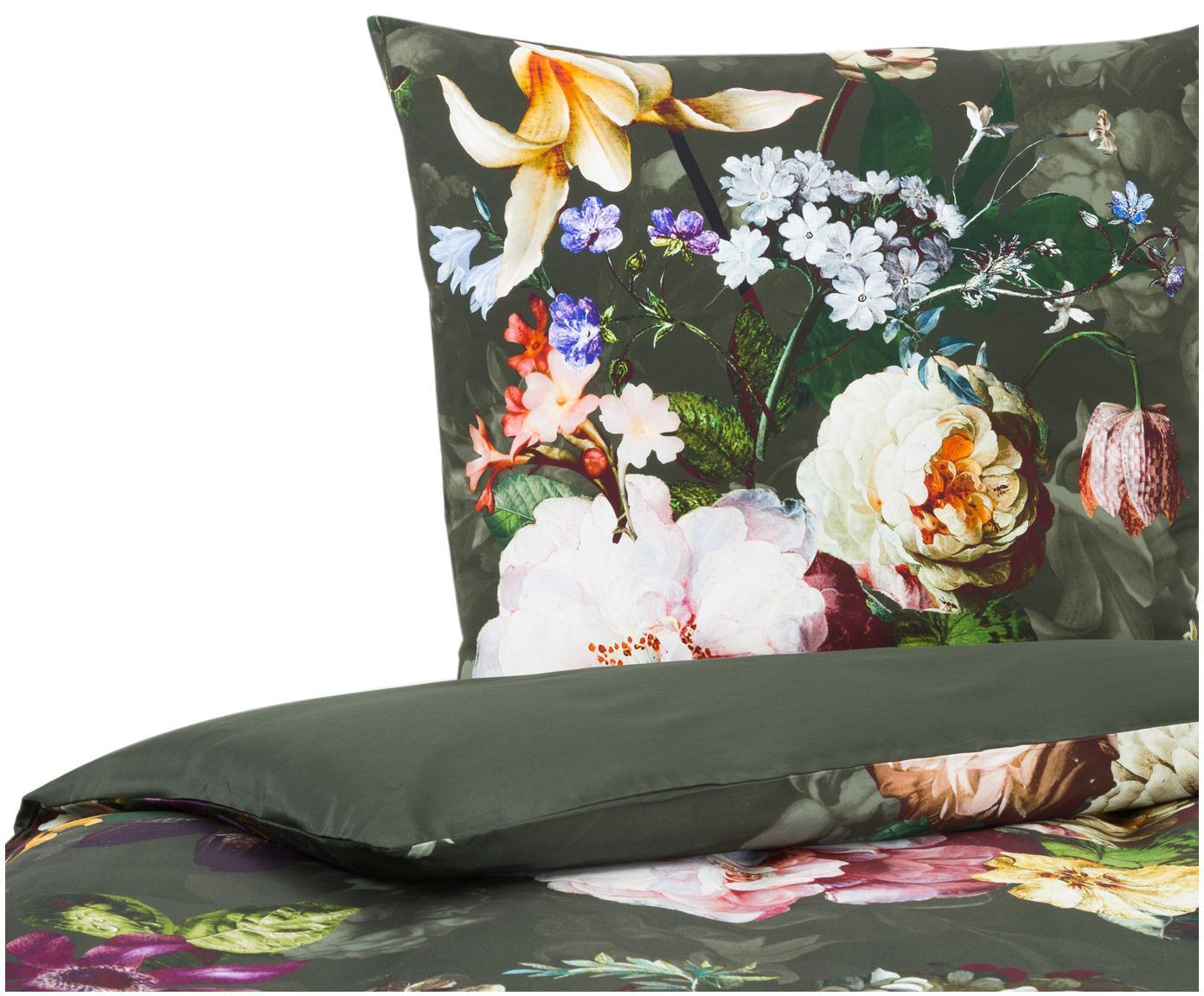 Baumwollsatin-Bettwäsche Fleur mit Blumen-Muster, Webart: Satin Fadendichte 209 TC,, Dunkelgrün, 155 x 220 cm + 1 Kissen 80 x 80 cm