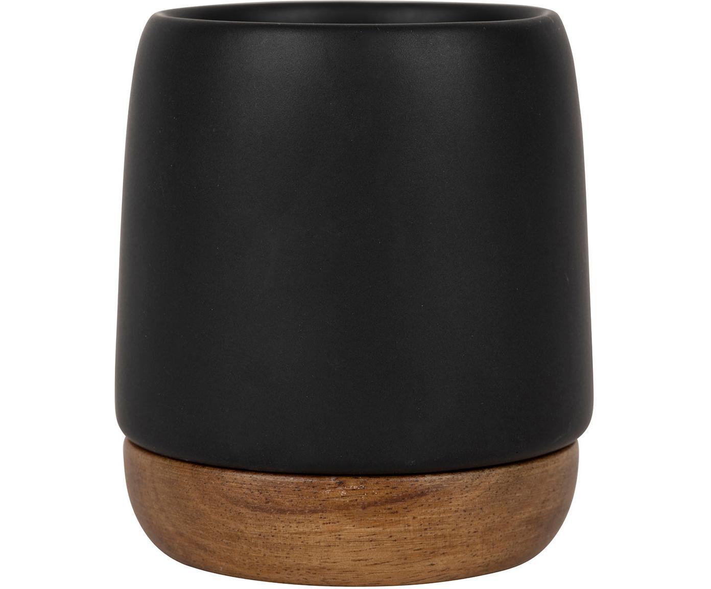 Tazas de gres con base Nordika, 2uds., Gres, madera de acacia, Negro, marrón, Ø 6 x Al 8 cm