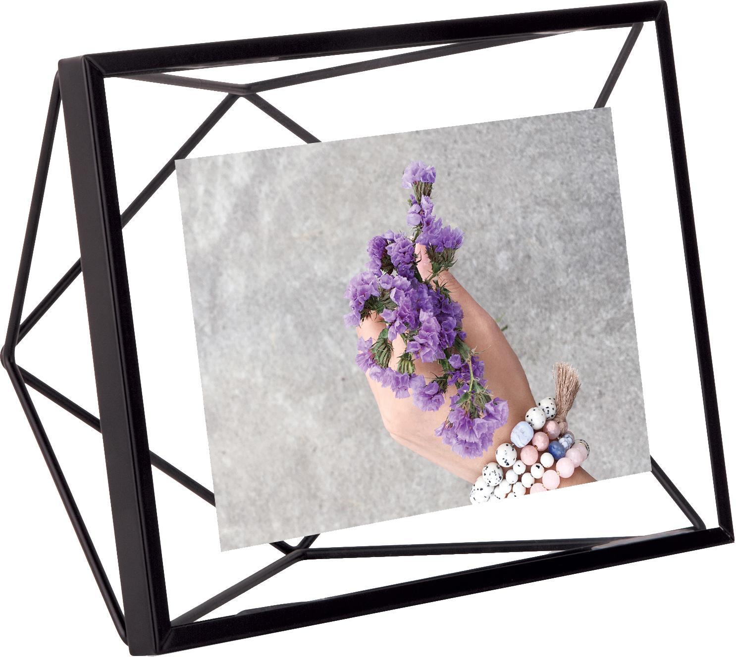 Portafoto da tavolo in acciaio nero Prisma, Cornice: acciaio, Nero, 10 x 15 cm