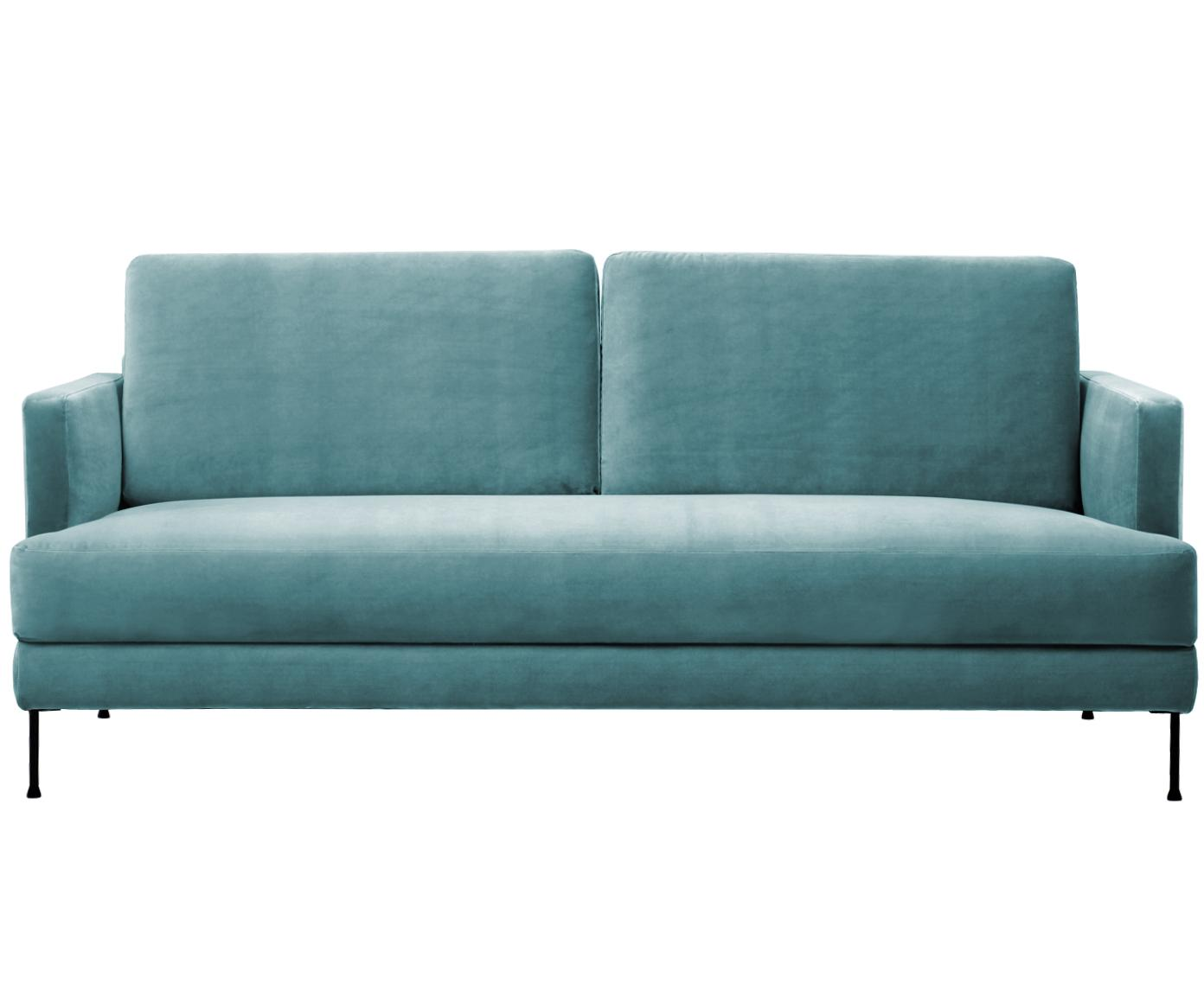 Fluwelen bank Fluente (3-zits), Bekleding: fluweel (hoogwaardig poly, Frame: massief grenenhout, Poten: gelakt metaal, Turquoise, B 197 x D 83 cm