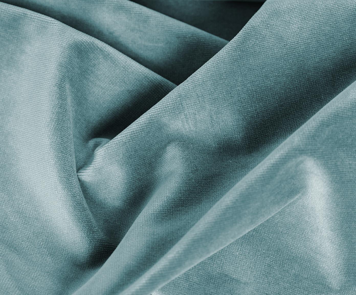 Sofa z aksamitu Fluente (3-osobowa), Tapicerka: aksamit (wysokiej jakości, Stelaż: lite drewno sosnowe, Nogi: metal lakierowany, Aksamitny turkusowy, S 197 x G 83 cm