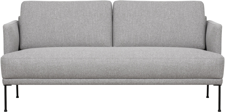 Sofa Fluente (2-Sitzer), Bezug: 80% Polyester, 20% Ramie , Gestell: Massives Kiefernholz, Füße: Metall, pulverbeschichtet, Webstoff Hellgrau, B 166 x T 85 cm