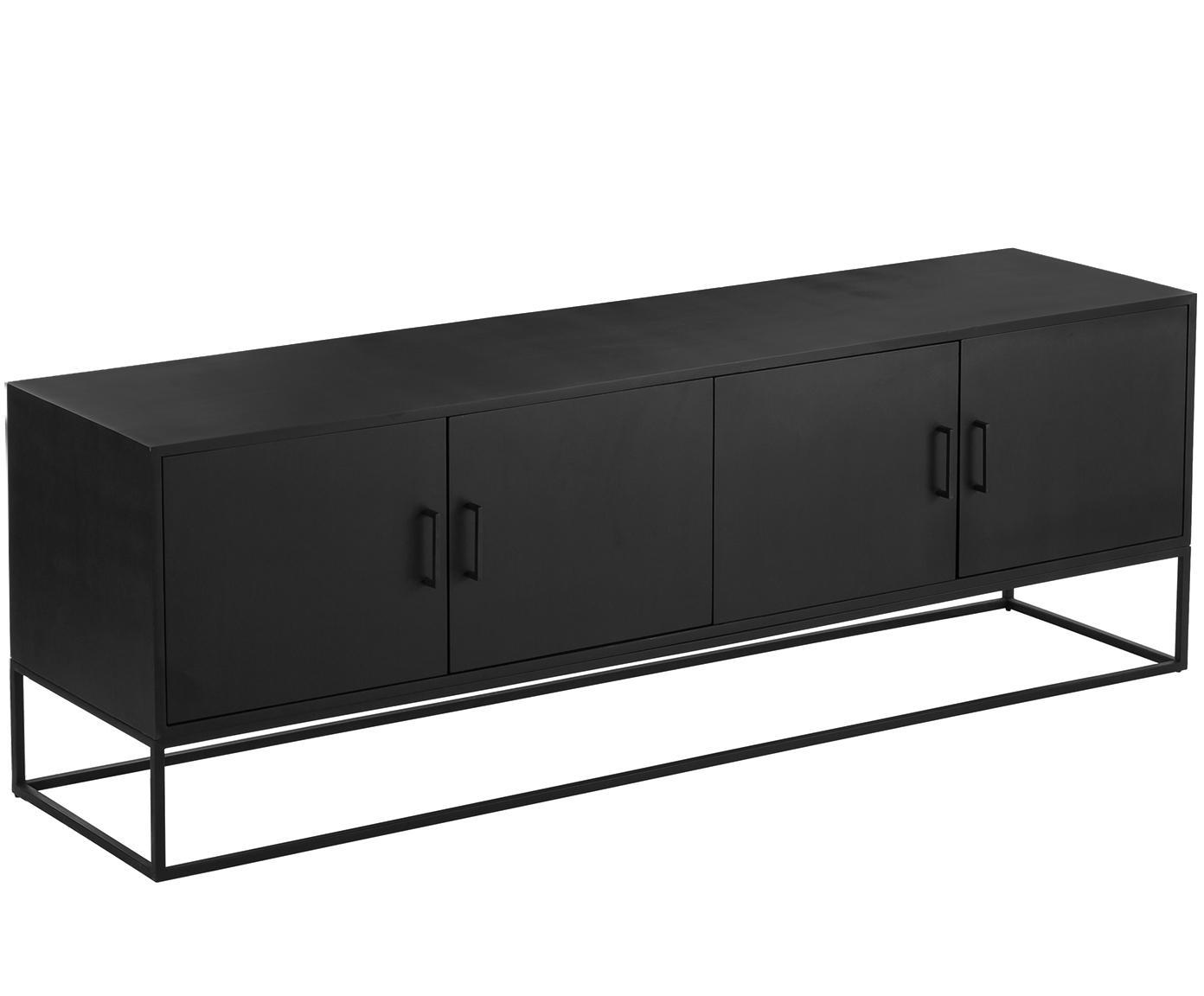 Lowboard Lyle mit Türen aus Massivholz, Korpus: Massives Mangoholz, lacki, Mangoholz, schwarz lackiert, 180 x 60 cm