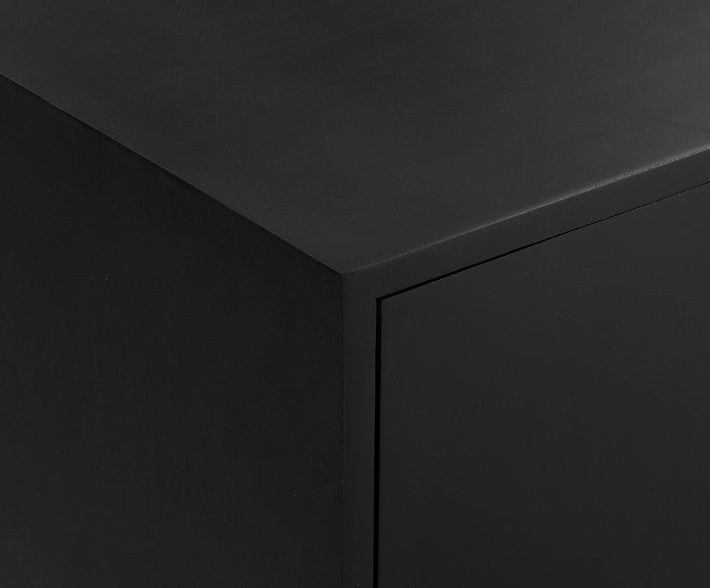 Tv-meubel Lyle met deuren van massief hout, Zwart gelakt mangohout, 180 x 60 cm