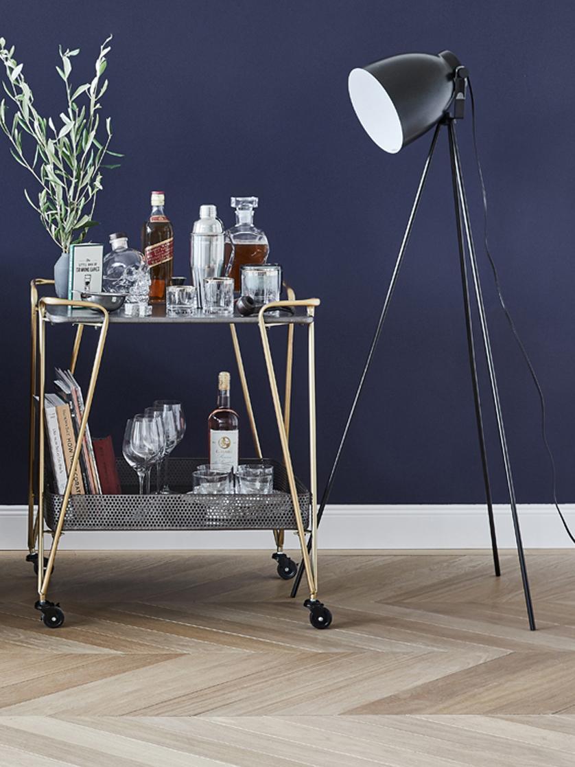 Tripod Leselampe Studio im Industrial-Style, Lampenschirm: Stahl, Mattschwarz, 58 x 130 cm