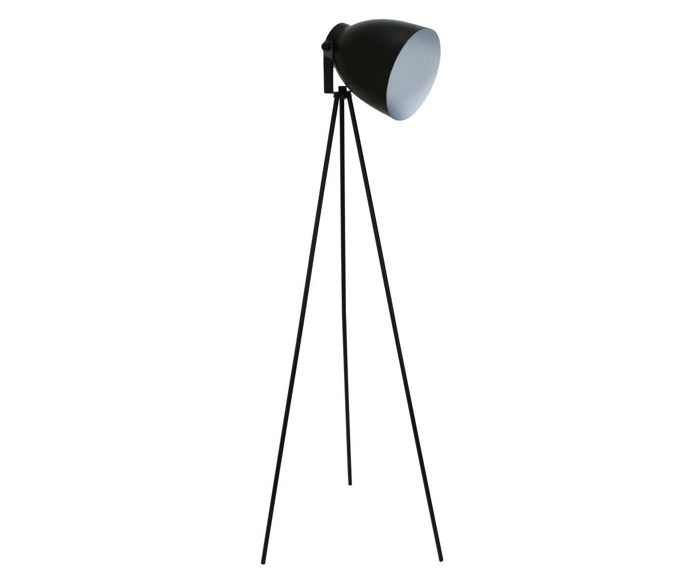Industriële leeslamp Studio in zwart, Staal, Mat zwart, 58 x 130 cm