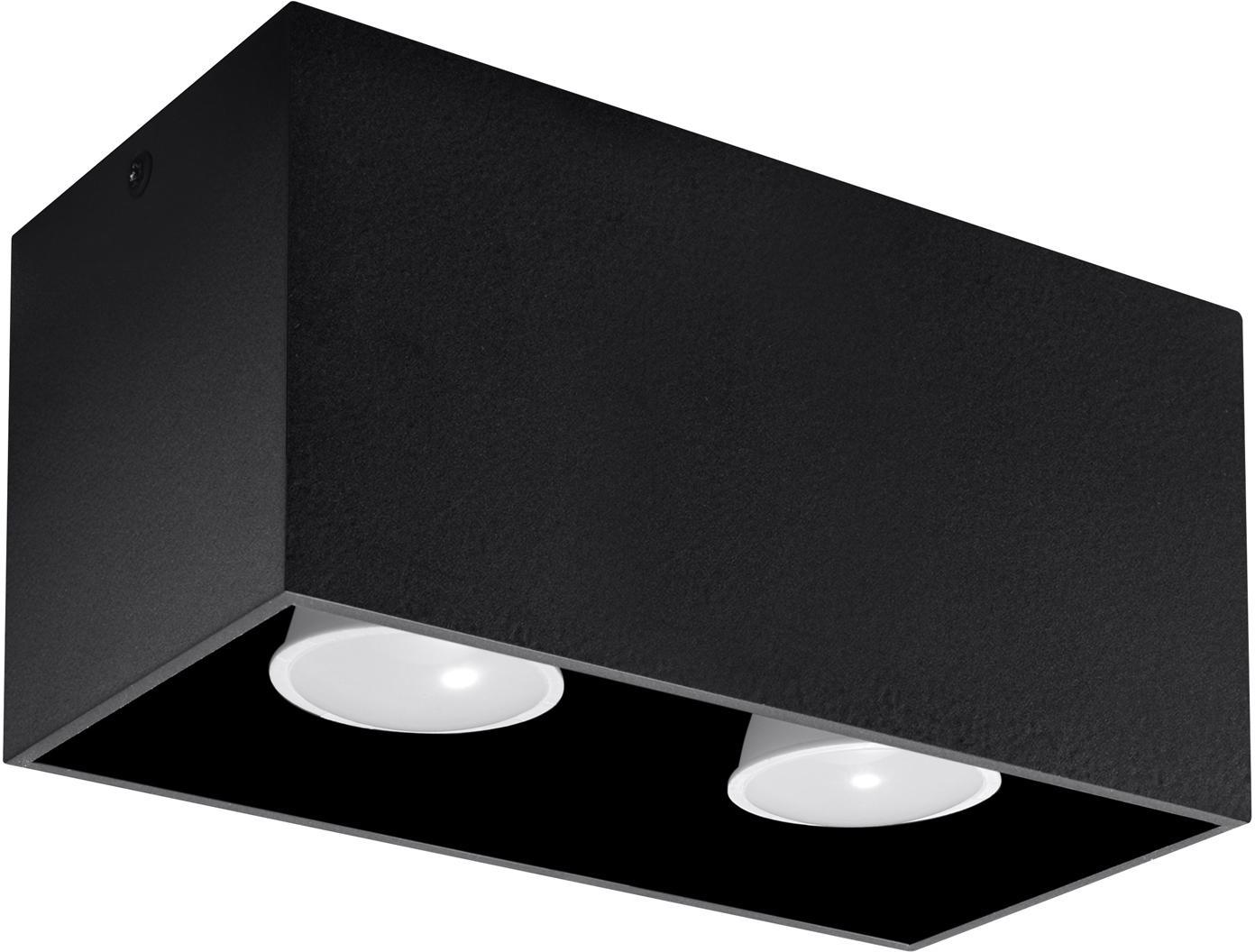Plafón Geo, Aluminio, Negro, An 20 x Al 10 cm