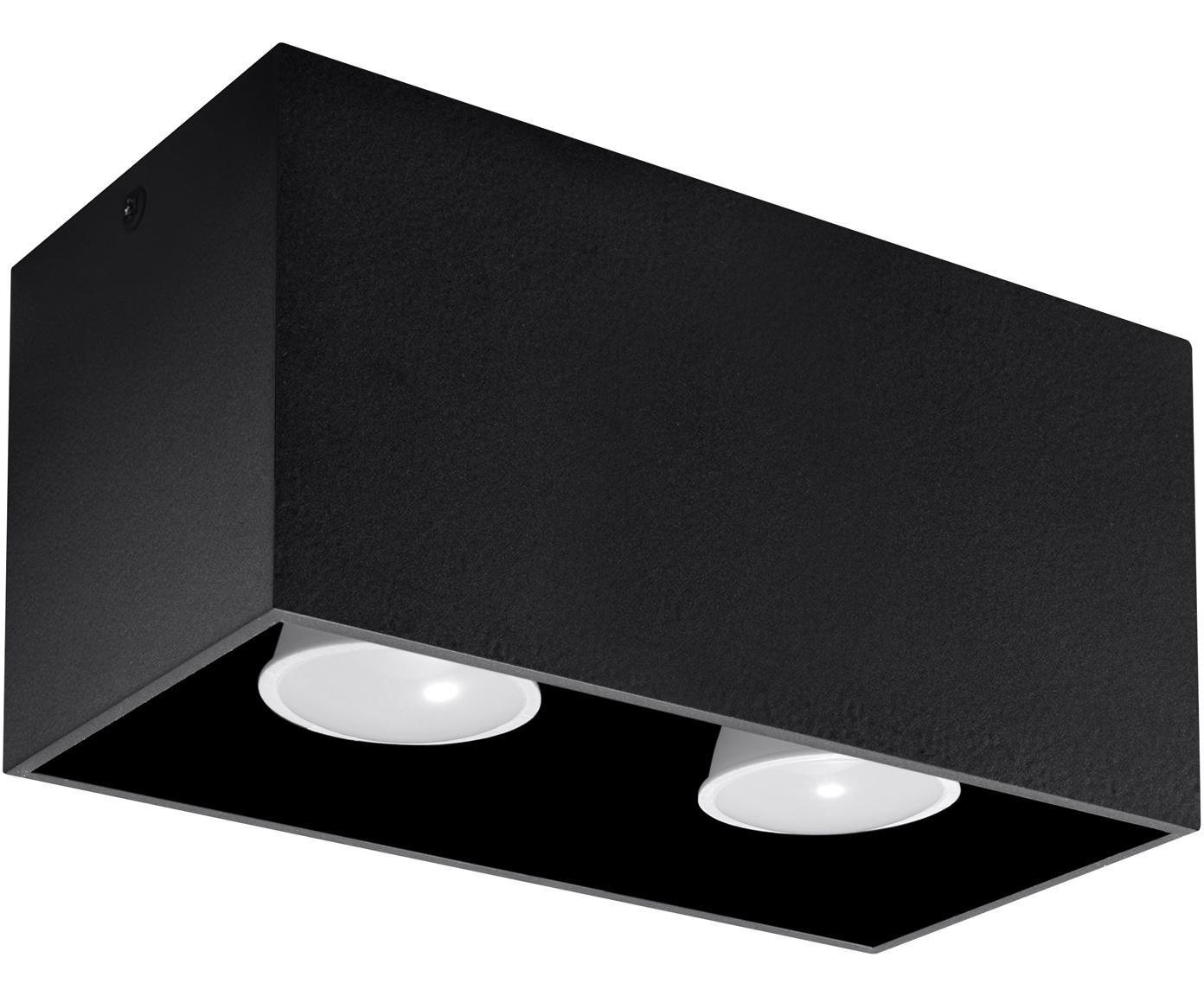 Faretto da soffitto Geo, Alluminio, Nero, Larg. 20 x Alt. 10 cm