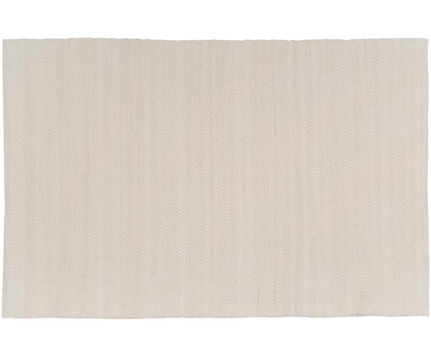 Handgeweven wollen vloerkleed Clara, Crèmekleurig, 120 x 180 cm