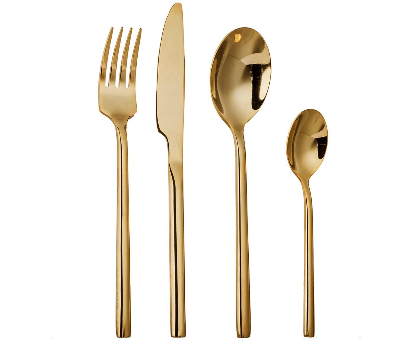 Set 16 posate dorate in acciaio inossidabile per 4 persone Matera, Acciaio inossidabile 13/0, ottonato, Ottone, Diverse dimensioni