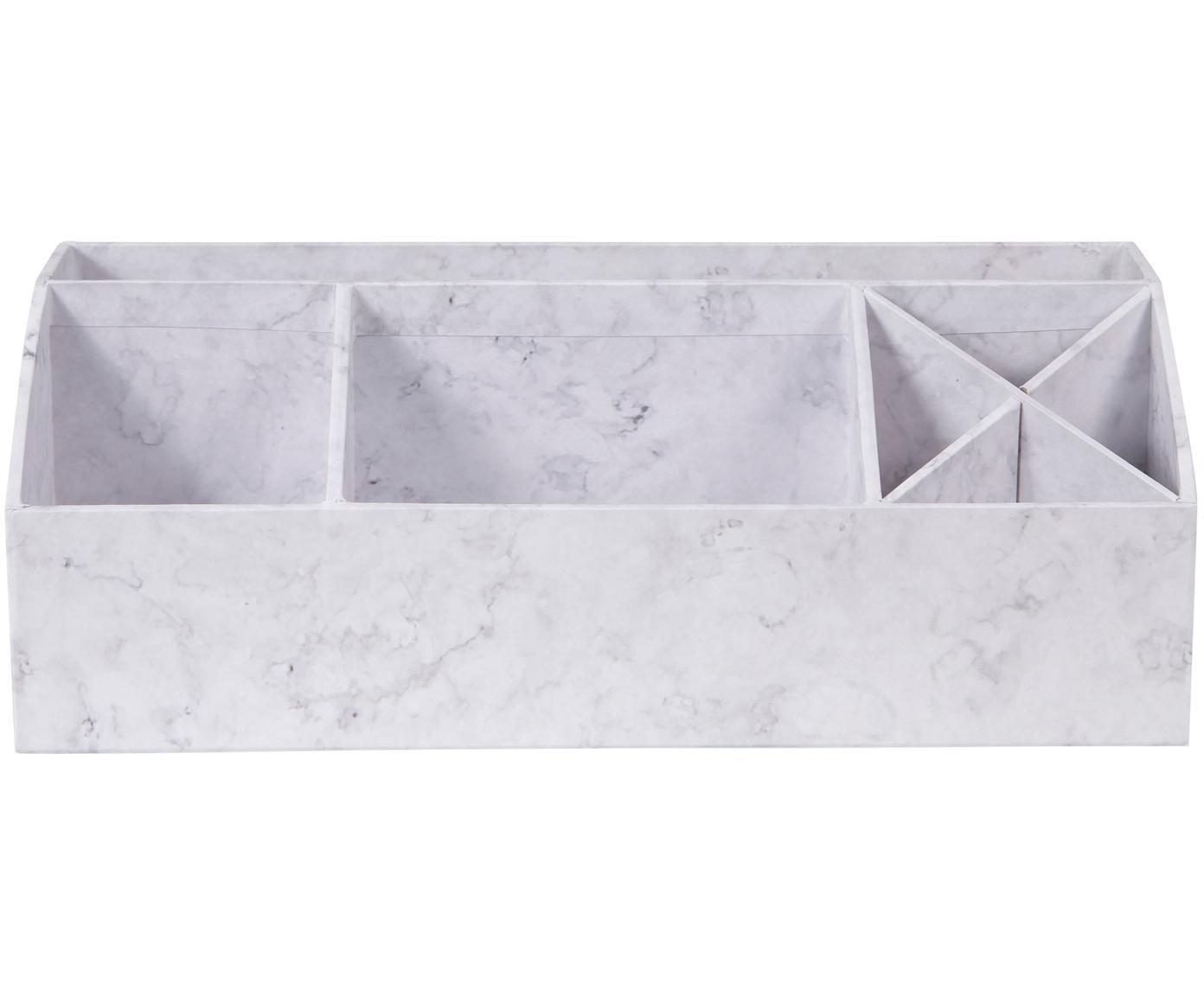 Organizer biurowy Elisa, Tektura laminowana, Biały, marmurowy, S 33 x W 13 cm