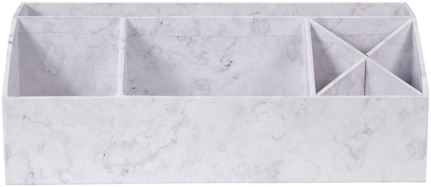 Büro-Organizer Elisa, fester, laminierter Karton, Weiss, marmoriert, 33 x 13 cm