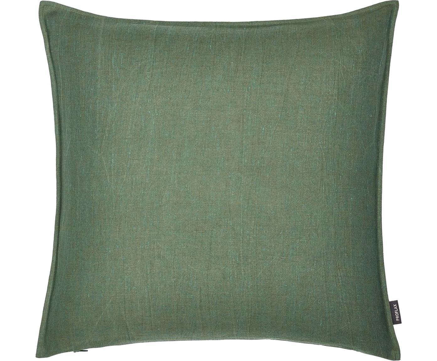Federa arredo in lino lavato verde Sven, Lino, Verde scuro, Larg. 60 x Lung. 60 cm