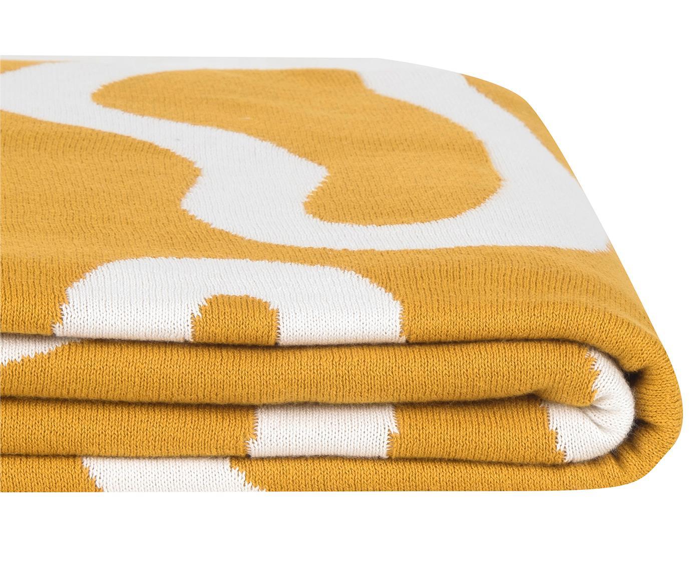 Dwustronny pled z cienkiej dzianiny Amina, Bawełna, Żółty/biały, S 150 x D 200 cm