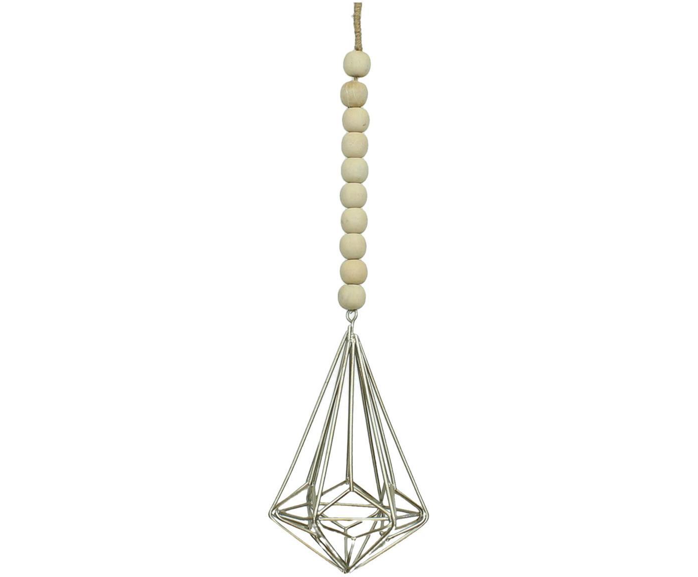 Baumanhänger Ornament, Holz, Metall, Beige, Silberfarben, 9 x 9 cm