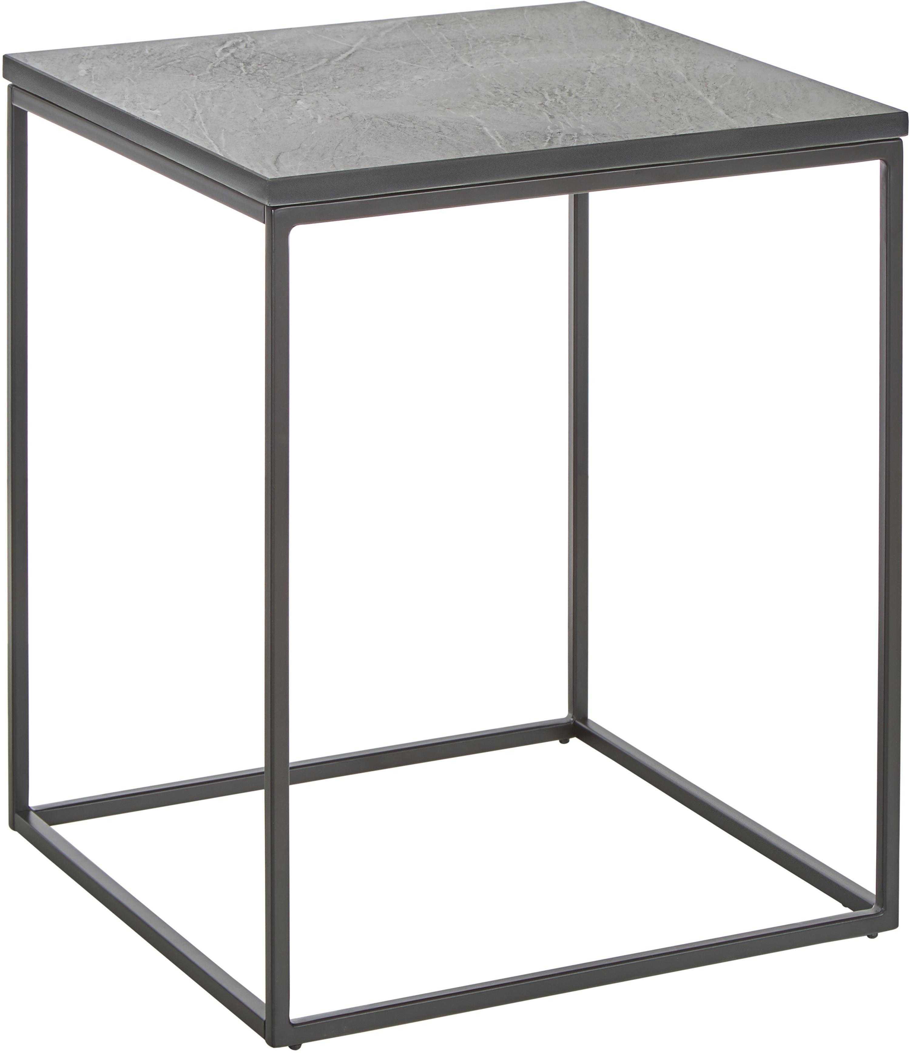 Stolik pomocniczy z marmuru Vince, Blat: marmur, Stelaż: metal malowany proszkowo, Blat: czarny Stelaż: czarny, S 45 x W 50 cm