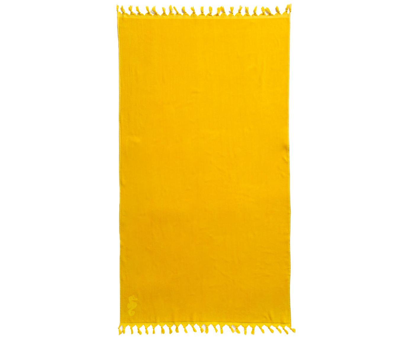 Telo fouta in cotone Lushie, Cotone Qualità del tessuto media, 355g/m², Giallo sole, Larg. 100 x Lung. 180 cm