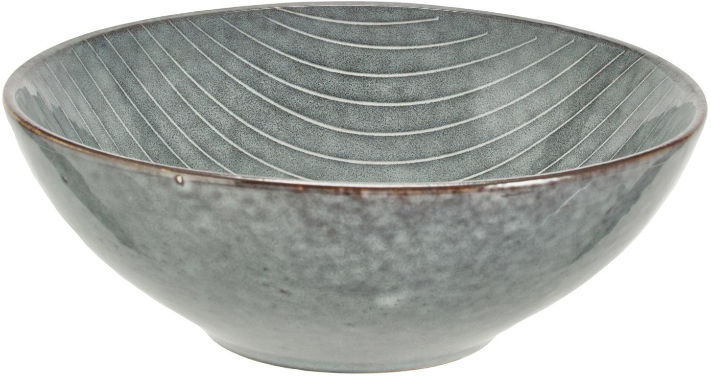 Handgemachte Schalen Nordic Sea Ø 17 cm aus Steingut, 4 Stück, Steingut, Grau- und Blautöne, Ø 17 x H 6 cm