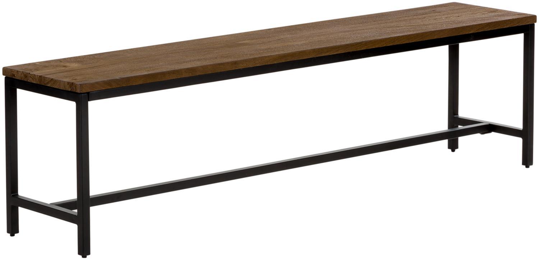 Panca in legno di mango massiccio Raw, Seduta: legno di mango, massiccio, Struttura: metallo verniciato a polv, Seduta: legno di mango con look vintage struttura: nero, Larg. 177 x Alt.47 cm