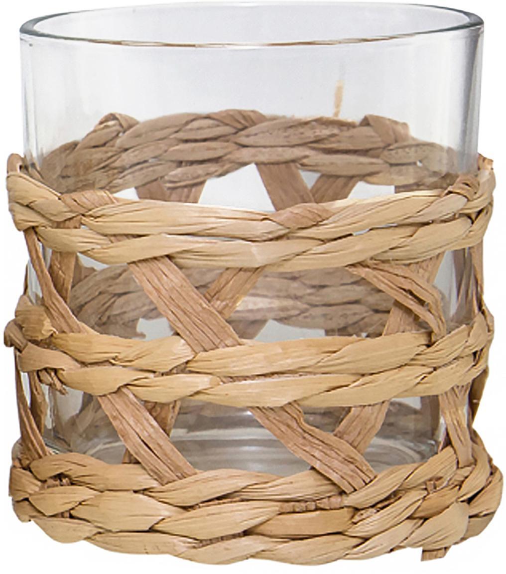 Bicchiere acqua con intreccio Osier 4 pz, Decorazione: intreccio di erba, Trasparente, marrone, Ø 9 x Alt. 10 cm