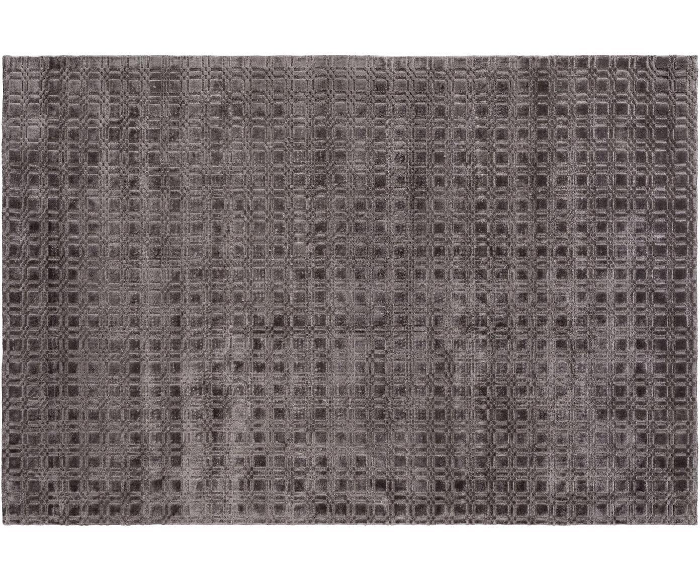 Handgeweven viscose vloerkleed Nelson, pluizig glanzend, Viscose, Grijs, B 140 x L 200 cm (maat S)