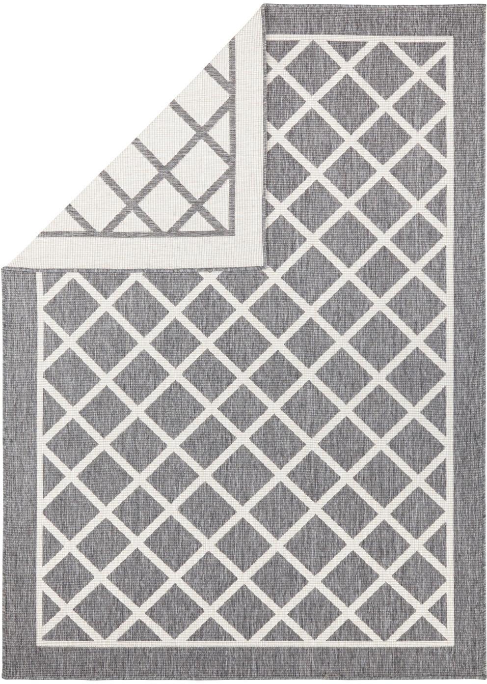 In- und Outdoor-Wendeteppich Sydney mit Rautenmuster in Grau/Creme, Grau, Creme, B 120 x L 170 cm (Größe S)