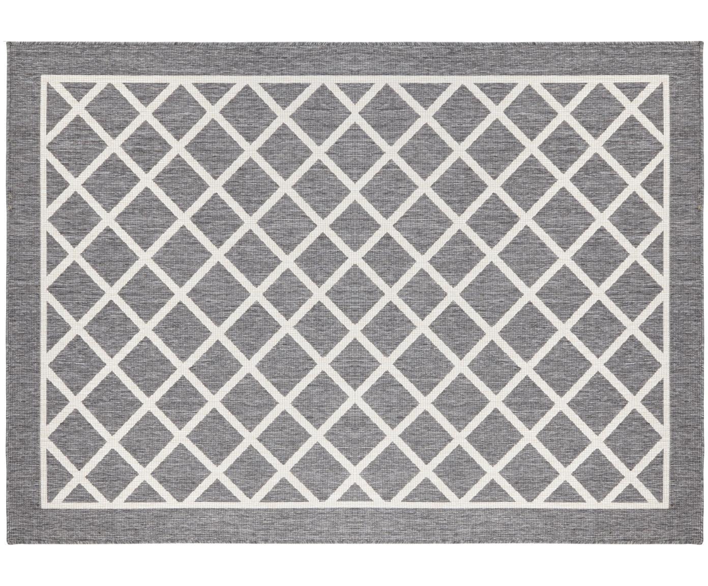 Dubbelzijdig in- & outdoor vloerkleed Sydney met ruitenmotief in grijs-crèmekleur, Grijs, crèmekleurig, B 160 x L 230 cm (maat M)