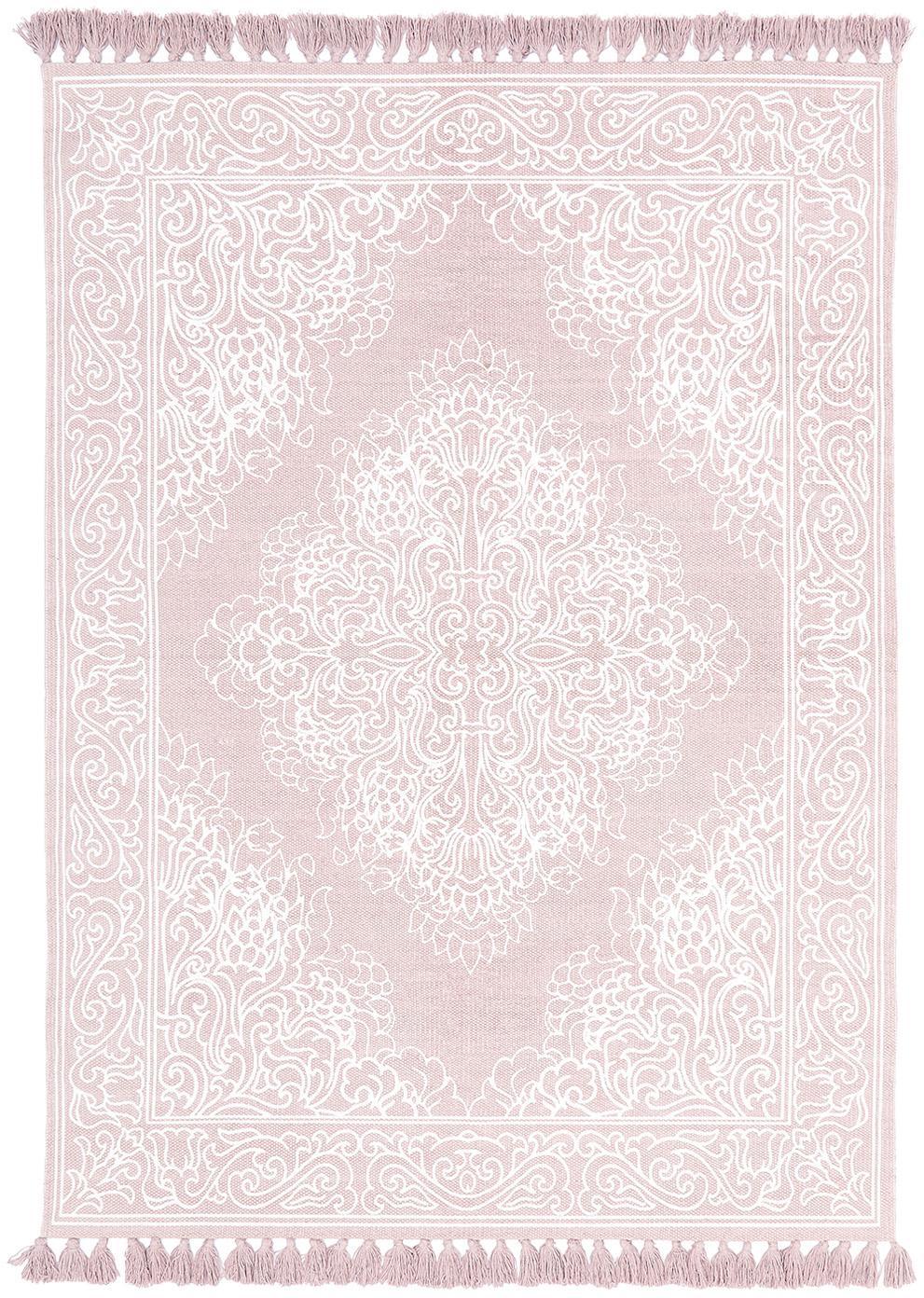 Tappeto in cotone tessuto a mano Salima, Cotone, Rosa, bianco crema, Larg. 120 x Lung. 180 cm (taglia S)