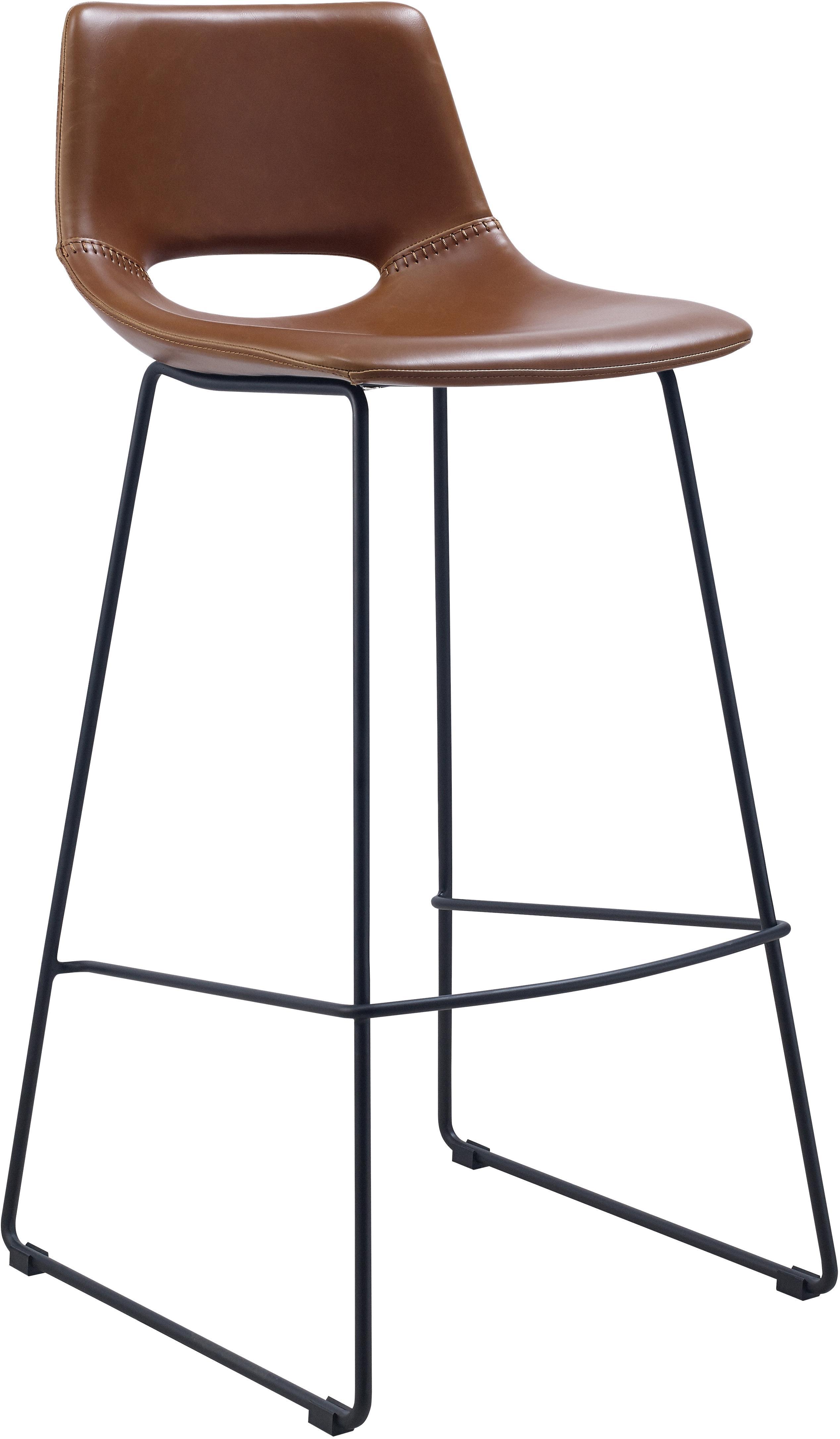 Sedie da bar in similpelle Zahara, 2 pz., Seduta: similpelle, Gambe: metallo verniciato, Marrone, Larg. 47 x Alt. 98 cm