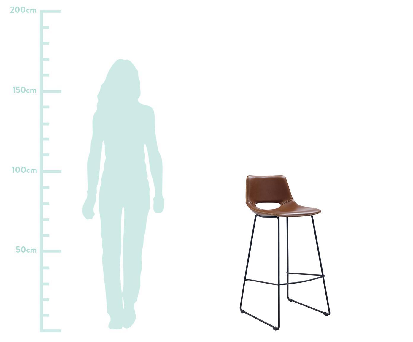 Kunstleder-Barstühle Zahara, 2 Stück, Sitzfläche: Kunstleder, Beine: Metall, lackiert, Braun, 47 x 98 cm