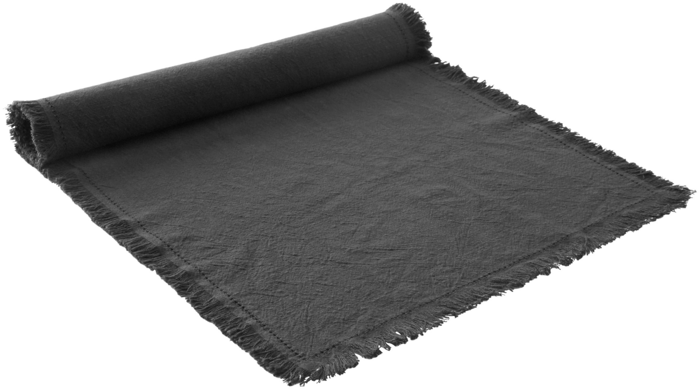 Tischläufer Hilma, 100% Baumwolle, Anthrazit, 40 x 140 cm