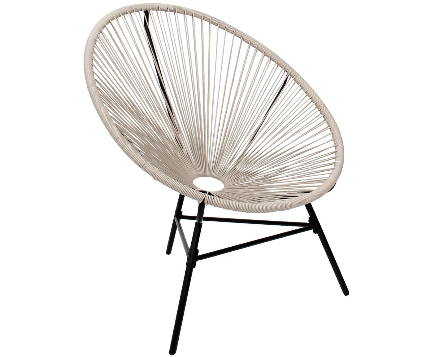 Retro fauteuil Bahia, Frame: Metaal, Zitvlak: Polyethyleen-vlechtwerk, Vlechtwerk: Taupe. Frame: Zwart, 81 x 88 cm