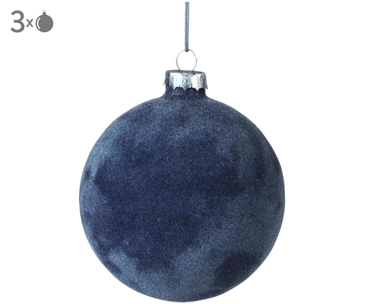Kerstballen Alcan, 3 stuks, Glas, polyesterfluweel, Donkerblauw, Ø 10 cm