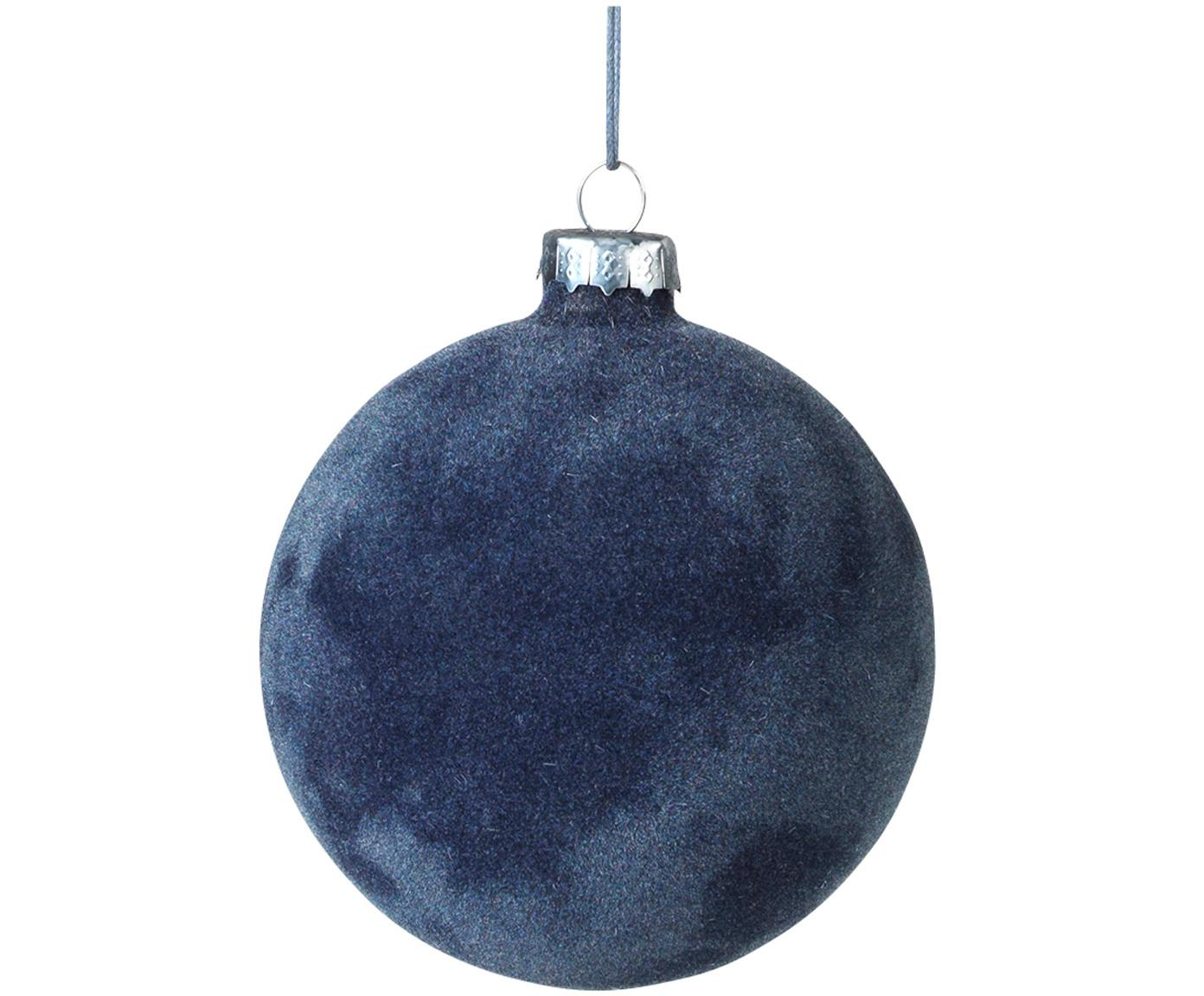 Weihnachtskugeln Alcan Ø10cm, 3Stück, Glas, Polyestersamt, Dunkelblau, Ø 10 cm