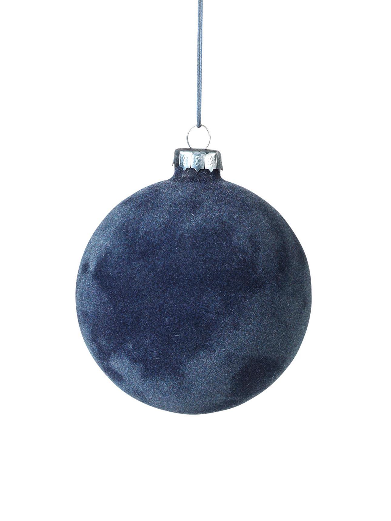 Bolas de Navidad Alcan, Ø10cm, 3uds., Vidrio, terciopelo de poliéster, Azul oscuro, Ø 10 cm